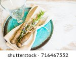 summer time table setting with... | Shutterstock . vector #716467552
