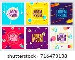memphis style cards design... | Shutterstock .eps vector #716473138