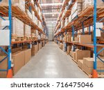 interior of logistics warehouse | Shutterstock . vector #716475046
