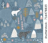 seamless pattern with bunny... | Shutterstock .eps vector #716478835