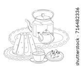 tea party outline drawing for... | Shutterstock . vector #716482336