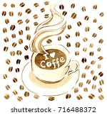 a cup of hot coffee on a saucer ... | Shutterstock . vector #716488372