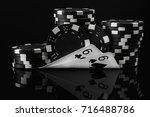 black white idea of poker chips ...   Shutterstock . vector #716488786