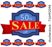 set of discount stickers. blue... | Shutterstock . vector #716492098