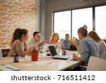 young people group in modern... | Shutterstock . vector #716511412