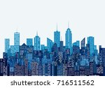 white windows abstract city... | Shutterstock .eps vector #716511562
