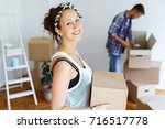 packing and moving from an old... | Shutterstock . vector #716517778