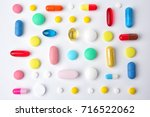 different colorful pills on... | Shutterstock . vector #716522062