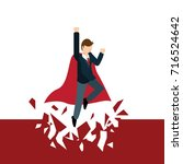 super businessman punches the... | Shutterstock .eps vector #716524642