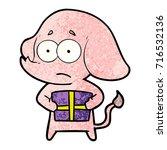 cartoon unsure elephant with...   Shutterstock .eps vector #716532136
