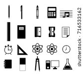 school supplies vector icon set | Shutterstock .eps vector #716533162