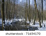 River in the woods in winter - stock photo