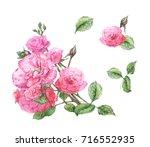 watercolor set of romantic pink ...   Shutterstock . vector #716552935