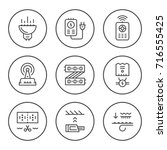 set round line icons of led... | Shutterstock . vector #716555425