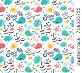 seamless pattern with ships ... | Shutterstock .eps vector #716555755