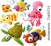 vector sea animals   Shutterstock .eps vector #71655721