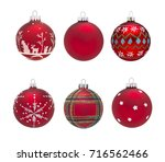 group of isolated red christmas ... | Shutterstock . vector #716562466