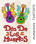 day of the dead poster  mexican ... | Shutterstock .eps vector #716572072