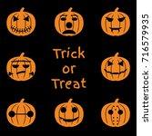set of halloween objects ... | Shutterstock .eps vector #716579935