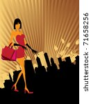young woman with shopping bags | Shutterstock .eps vector #71658256