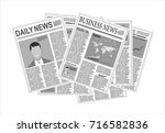 newspapers. flat design style. | Shutterstock .eps vector #716582836