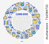 cleaning service concept in... | Shutterstock .eps vector #716584732