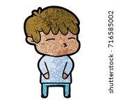 cartoon curious boy   Shutterstock .eps vector #716585002