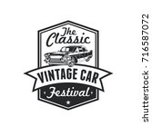 old style vintage classic car... | Shutterstock .eps vector #716587072