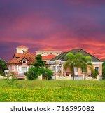 posh village in suburban manila ... | Shutterstock . vector #716595082