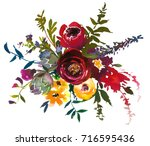 bordo yellow watercolor floral... | Shutterstock . vector #716595436