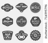set of vintage bicycle shop and ... | Shutterstock .eps vector #716595796