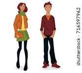young couple cartoon. vector... | Shutterstock .eps vector #716597962