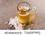 glass of beer  top view on a... | Shutterstock . vector #716597992