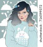 vector beauty princess girl in ... | Shutterstock .eps vector #716599372
