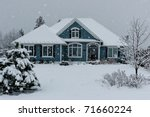 House In Winter Snow Storm