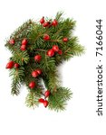 red rose hips and green spruce... | Shutterstock . vector #7166044