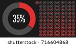 set of circle percentage... | Shutterstock .eps vector #716604868