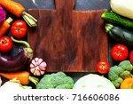 vegetables. fresh vegetables.... | Shutterstock . vector #716606086