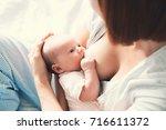 mother breastfeeding baby in... | Shutterstock . vector #716611372