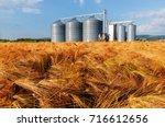 silos in a barley field.... | Shutterstock . vector #716612656