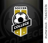 soccer college logo  on a dark... | Shutterstock .eps vector #716623156
