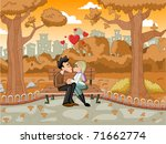 young romantic couple... | Shutterstock .eps vector #71662774