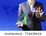 senior business man balancing... | Shutterstock . vector #716628616