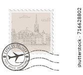 postal stamp with old city... | Shutterstock .eps vector #716628802