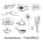 india. diwali holiday set.... | Shutterstock .eps vector #716639812