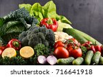 composition with variety of raw ... | Shutterstock . vector #716641918