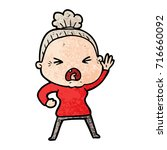 cartoon angry old woman | Shutterstock .eps vector #716660092