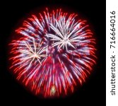 red and silver fireworks in the ...   Shutterstock . vector #716664016