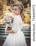 lovely young bride in wedding... | Shutterstock . vector #716664472