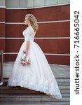 lovely young bride in wedding... | Shutterstock . vector #716665042